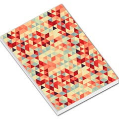 Modern Hipster Triangle Pattern Red Blue Beige Large Memo Pads by EDDArt