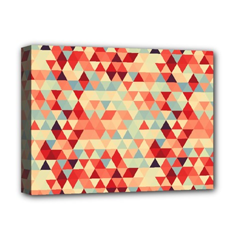 Modern Hipster Triangle Pattern Red Blue Beige Deluxe Canvas 16  X 12   by EDDArt