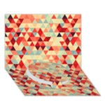 Modern Hipster Triangle Pattern Red Blue Beige Circle Bottom 3D Greeting Card (7x5)