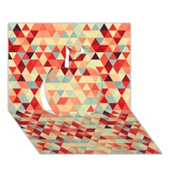 Modern Hipster Triangle Pattern Red Blue Beige Apple 3d Greeting Card (7x5)