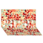 Modern Hipster Triangle Pattern Red Blue Beige #1 MOM 3D Greeting Cards (8x4)