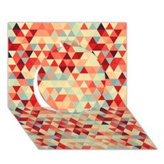 Modern Hipster Triangle Pattern Red Blue Beige Circle 3d Greeting Card (7x5) by EDDArt