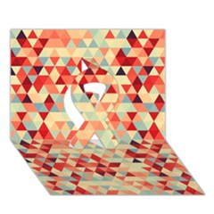 Modern Hipster Triangle Pattern Red Blue Beige Ribbon 3d Greeting Card (7x5) by EDDArt