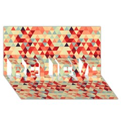 Modern Hipster Triangle Pattern Red Blue Beige Believe 3d Greeting Card (8x4) by EDDArt