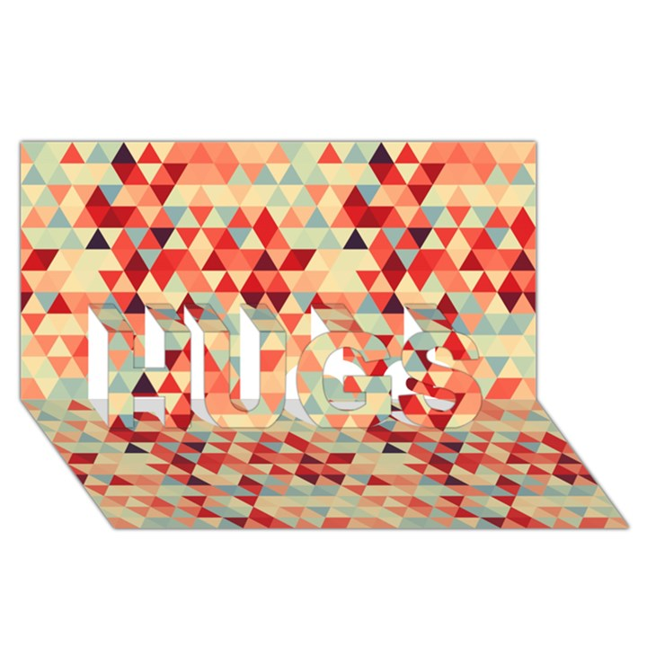 Modern Hipster Triangle Pattern Red Blue Beige HUGS 3D Greeting Card (8x4)