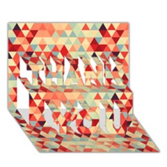 Modern Hipster Triangle Pattern Red Blue Beige Thank You 3d Greeting Card (7x5)