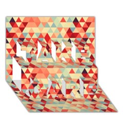 Modern Hipster Triangle Pattern Red Blue Beige Take Care 3d Greeting Card (7x5) by EDDArt