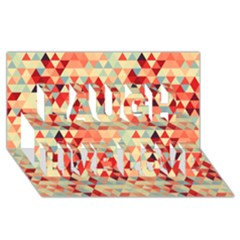 Modern Hipster Triangle Pattern Red Blue Beige Laugh Live Love 3d Greeting Card (8x4) by EDDArt