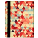 Modern Hipster Triangle Pattern Red Blue Beige Apple iPad 3/4 Flip Case View3