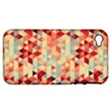 Modern Hipster Triangle Pattern Red Blue Beige Apple iPhone 4/4S Hardshell Case (PC+Silicone) View1