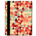 Modern Hipster Triangle Pattern Red Blue Beige Samsung Galaxy Tab 10.1  P7500 Flip Case View2
