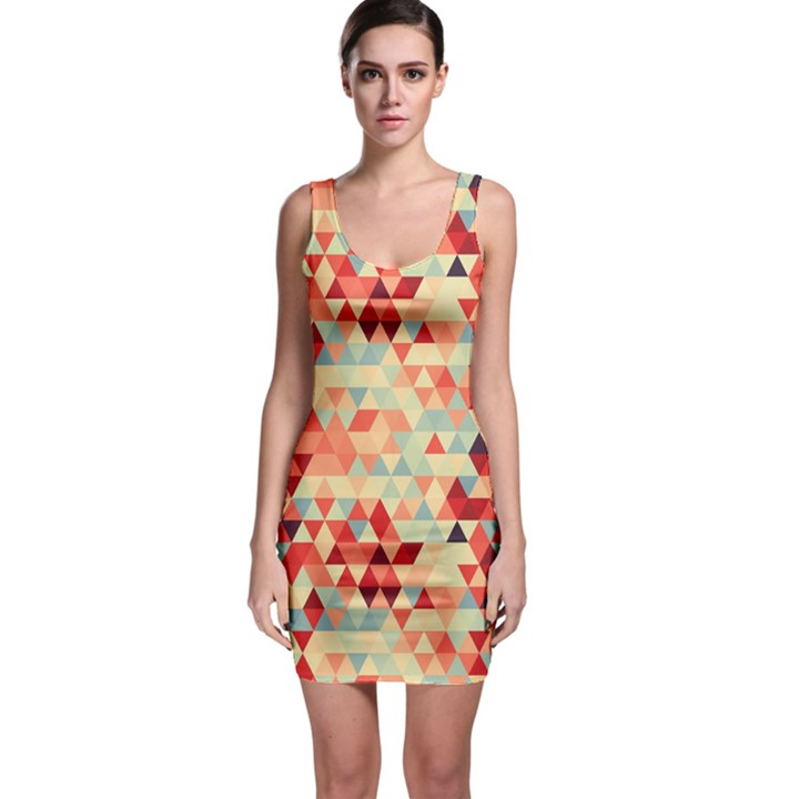 Modern Hipster Triangle Pattern Red Blue Beige Sleeveless Bodycon Dress