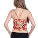 Modern Hipster Triangle Pattern Red Blue Beige Spaghetti Strap Bra Top View2