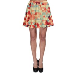 Modern Hipster Triangle Pattern Red Blue Beige Skater Skirt by EDDArt