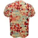 Modern Hipster Triangle Pattern Red Blue Beige Men s Cotton Tee View2