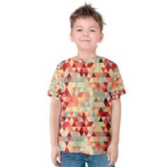 Modern Hipster Triangle Pattern Red Blue Beige Kids  Cotton Tee