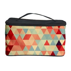 Modern Hipster Triangle Pattern Red Blue Beige Cosmetic Storage Case by EDDArt
