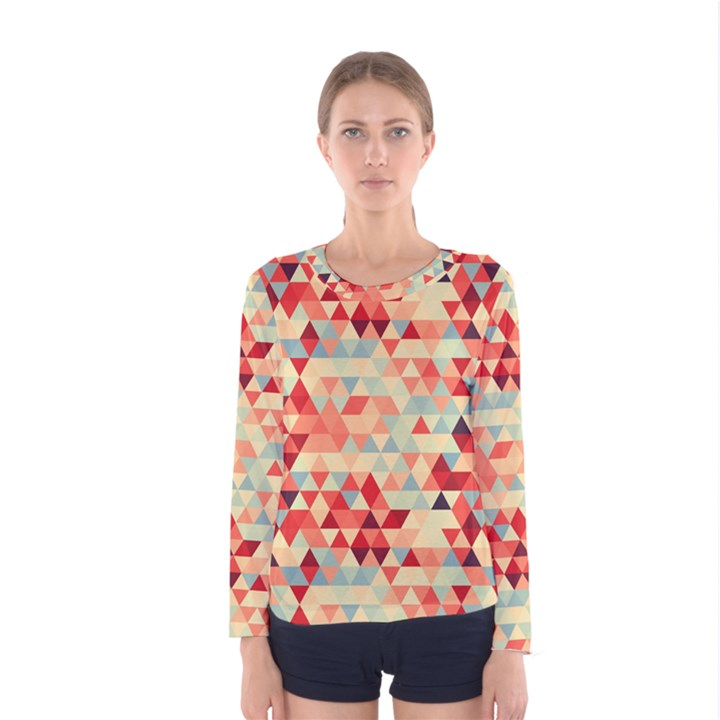 Modern Hipster Triangle Pattern Red Blue Beige Women s Long Sleeve Tee