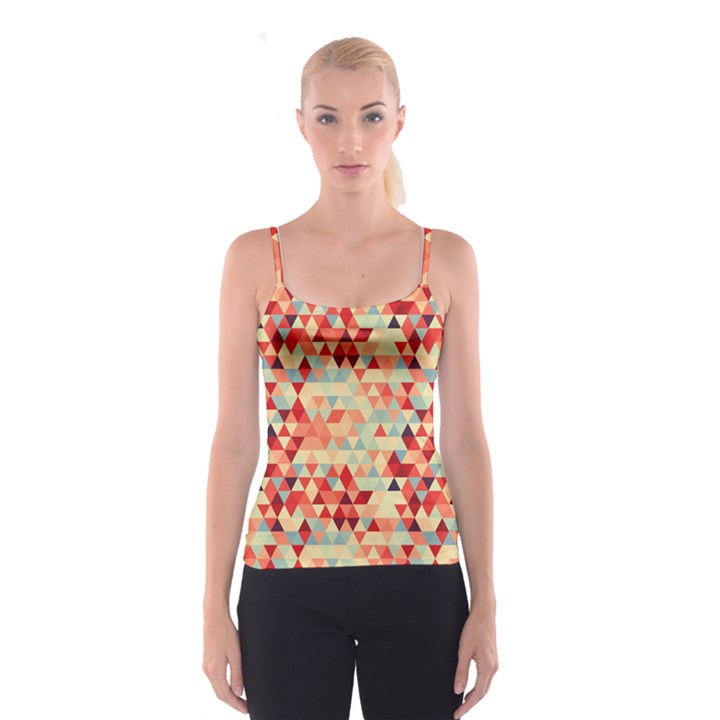 Modern Hipster Triangle Pattern Red Blue Beige Spaghetti Strap Top