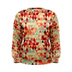 Modern Hipster Triangle Pattern Red Blue Beige Women s Sweatshirt