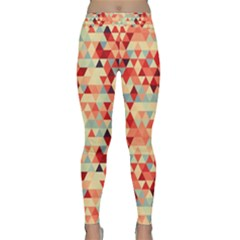 Modern Hipster Triangle Pattern Red Blue Beige Yoga Leggings  by EDDArt