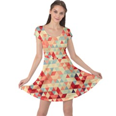 Modern Hipster Triangle Pattern Red Blue Beige Cap Sleeve Dresses