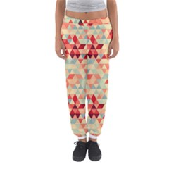 Modern Hipster Triangle Pattern Red Blue Beige Women s Jogger Sweatpants by EDDArt