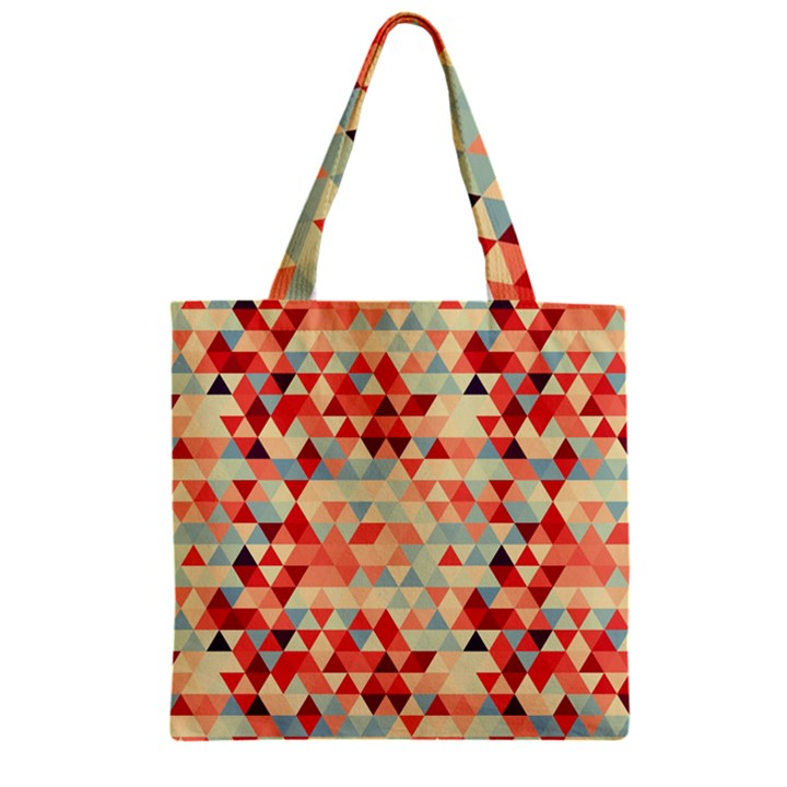 Modern Hipster Triangle Pattern Red Blue Beige Zipper Grocery Tote Bag