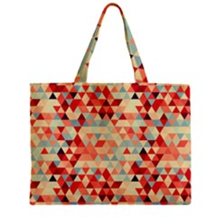 Modern Hipster Triangle Pattern Red Blue Beige Zipper Mini Tote Bag by EDDArt