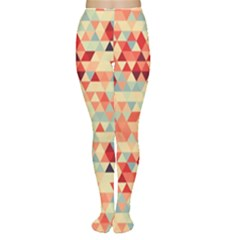 Modern Hipster Triangle Pattern Red Blue Beige Women s Tights by EDDArt