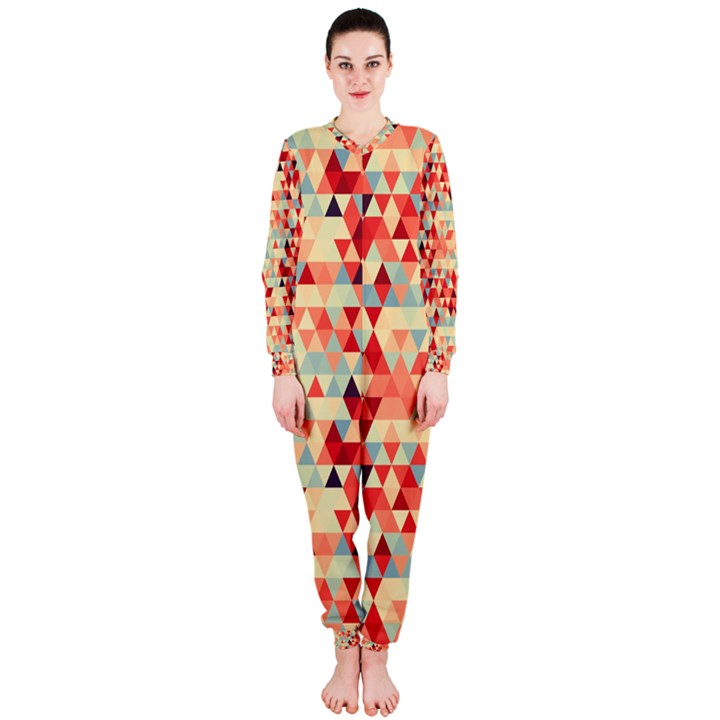 Modern Hipster Triangle Pattern Red Blue Beige OnePiece Jumpsuit (Ladies)