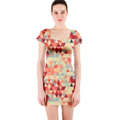 Modern Hipster Triangle Pattern Red Blue Beige Short Sleeve Bodycon Dress by EDDArt