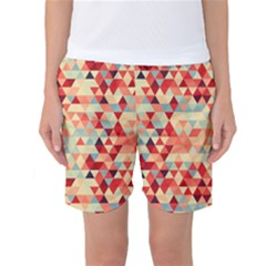Modern Hipster Triangle Pattern Red Blue Beige Women s Basketball Shorts by EDDArt