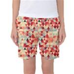Modern Hipster Triangle Pattern Red Blue Beige Women s Basketball Shorts