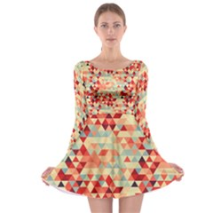 Modern Hipster Triangle Pattern Red Blue Beige Long Sleeve Skater Dress