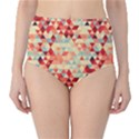 Modern Hipster Triangle Pattern Red Blue Beige High-Waist Bikini Bottoms View1