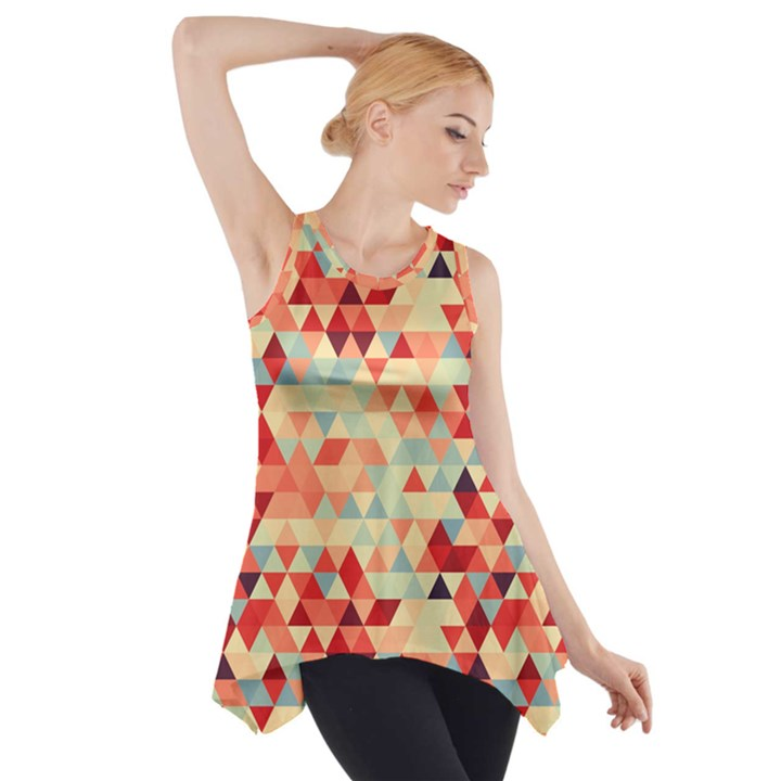 Modern Hipster Triangle Pattern Red Blue Beige Side Drop Tank Tunic