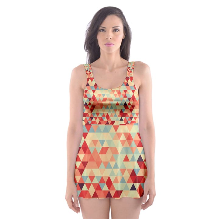 Modern Hipster Triangle Pattern Red Blue Beige Skater Dress Swimsuit