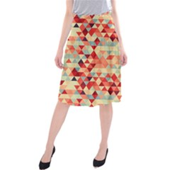 Modern Hipster Triangle Pattern Red Blue Beige Midi Beach Skirt