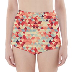 Modern Hipster Triangle Pattern Red Blue Beige High Waisted Bikini Bottoms by EDDArt