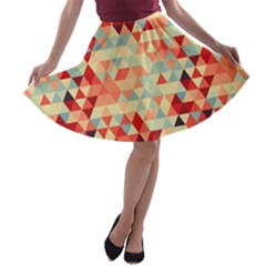 Modern Hipster Triangle Pattern Red Blue Beige A Line Skater Skirt by EDDArt