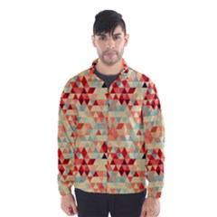 Modern Hipster Triangle Pattern Red Blue Beige Wind Breaker (men) by EDDArt