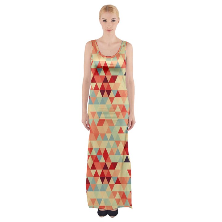 Modern Hipster Triangle Pattern Red Blue Beige Maxi Thigh Split Dress