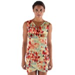 Modern Hipster Triangle Pattern Red Blue Beige Wrap Front Bodycon Dress