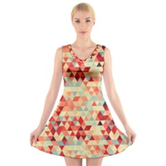 Modern Hipster Triangle Pattern Red Blue Beige V Neck Sleeveless Skater Dress by EDDArt