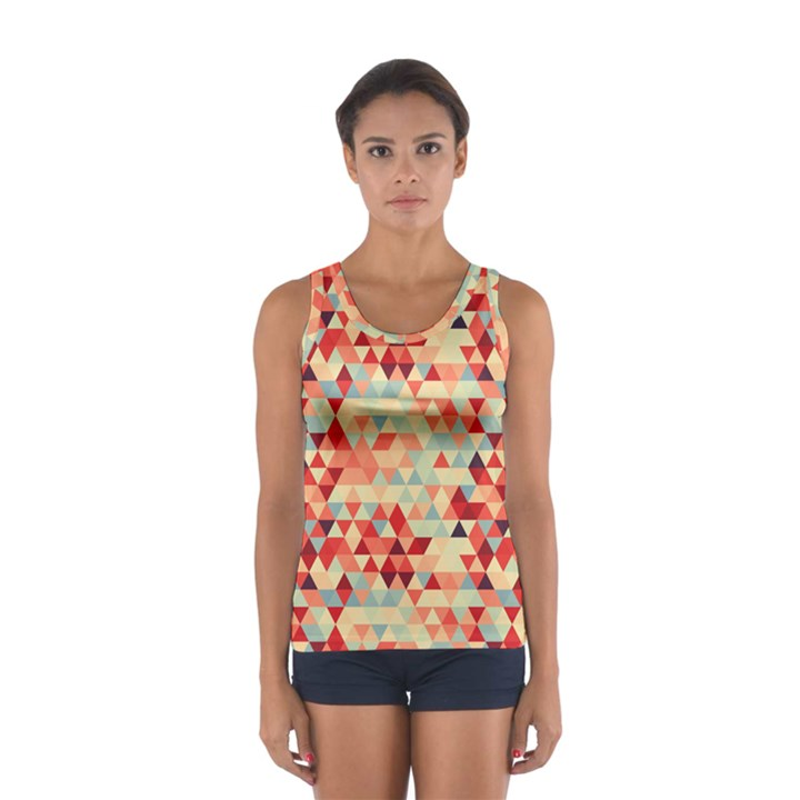 Modern Hipster Triangle Pattern Red Blue Beige Women s Sport Tank Top