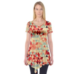 Modern Hipster Triangle Pattern Red Blue Beige Short Sleeve Tunic