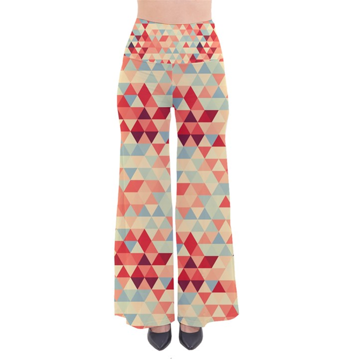 Modern Hipster Triangle Pattern Red Blue Beige Pants