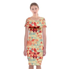 Modern Hipster Triangle Pattern Red Blue Beige Classic Short Sleeve Midi Dress by EDDArt