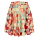 Modern Hipster Triangle Pattern Red Blue Beige High Waist Skirt View2